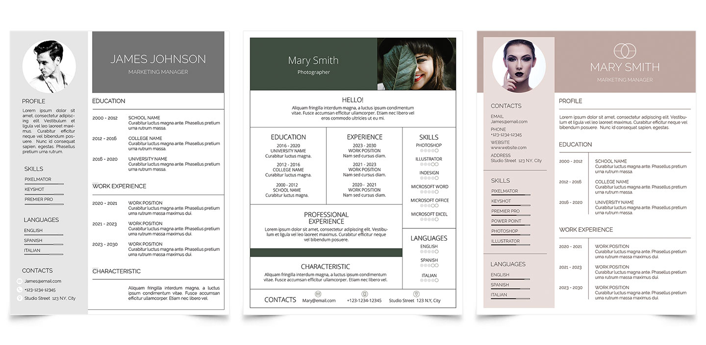CV & Résumé Templates for Adobe Photoshop
